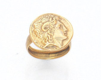 Alexander Coin Ring , Greek Coin Ring , Ancient Coin Ring , Gold Tone Ring , Double Sided Coin Ring , All Size Ring , Ring For Him , For her