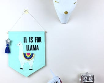 Ll Is For Llama Banner Wall Hanging, Nursery Decor, Kids Room Decor, Wall Banner, Gifts for Baby, Felt Banner, Drama Llama, Llama Wall Decor
