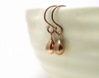 Rose gold earrings, delicate earrings, rose gold teardrops, pink gold jewelry, small gold drop earrings, tiny rose gold drop earrings