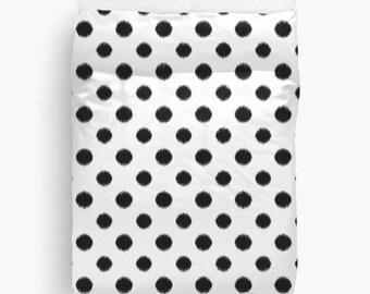 Polka Dot Duvet Cover, Black and White, Ikat Bedding, Girls Room Decor, Girls Bedding, Tween Girls, Duvet Cover Twin, Queen Bedding, Black