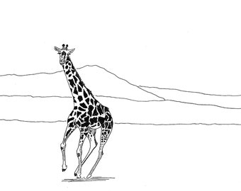Running Giraffe, print on the shop Chiselwit