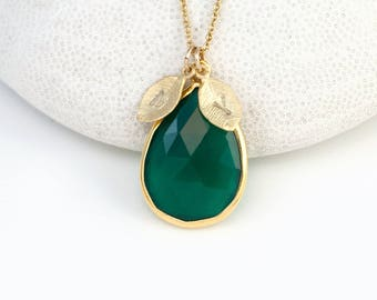 May Birthstone Necklace, Custom Stamped Initial Necklace, Gemstone Pendant, Green Tear Drop Stone, Green Onyx Necklace, Present for Mom