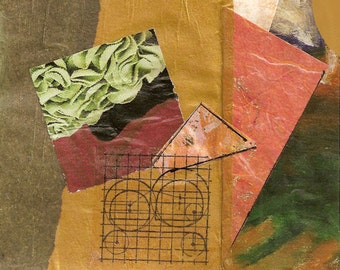 """Bouquet - Original Collage with Weathered and Hand Drawn and Painted Papers 4 x 4 on 5 x 5"""" Backing"""