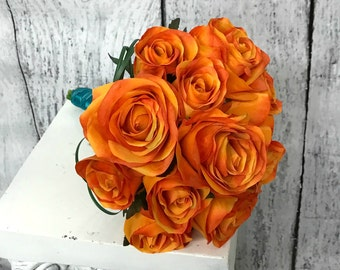 Bridesmaid bouquet, Bridal bouquet, Orange silk rose wedding bouquet, Orange rose tropical bouquet,  Orange rose beach wedding