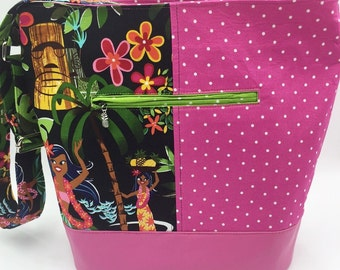 Large Handbag, Shoulder Bag, Bucket Bag, Purse in Hula Girl Print & Polka Dots - Made in Maui