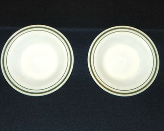 Double Green Band Corning Restaurant Ware, 6 1/2 Inch Wide Rim Flared Bowls, Set of Two