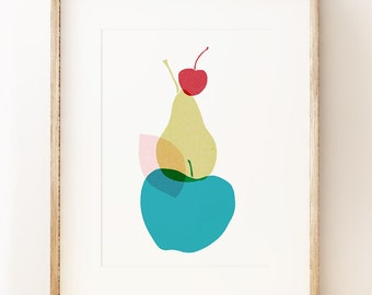 Fruity graphic wall art print 'Apple Pear Cherry', modern kitchen wall art, contemporary art print, modern art poster.