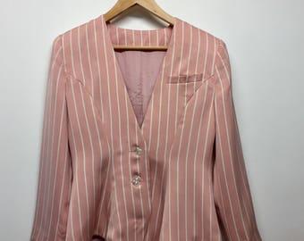Size 10 Vintage Pink and White Striped Blazer