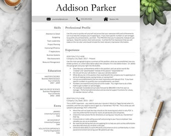 Professional Resume Template for Word and Pages (1, 2 and 3 Page Resume Templates Included) + Cover Letter, Icons | Instant Download Resume