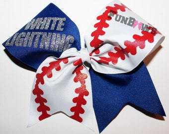 Amazing Baseball or Softball Hairbow customized ! By FunBows !