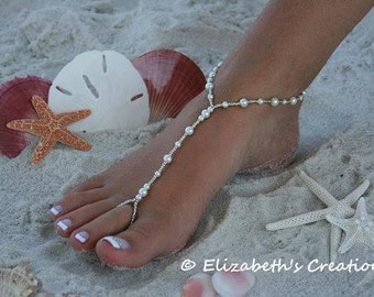 Barefoot Sandal - Simply Elegant  White Pearls and Silver Beads Destination Beach Wedding, Pearl Sandals, Beaded Barefoot Sandal