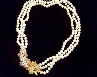 Miriam Haskell Three-Strand Vintage Pearl Necklace, Signed Miriam Haskell Faux Pearl Necklace, Miriam Haskell Vintage Multi-Strand Necklace