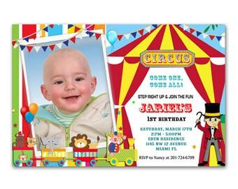 Printable File - Circus/Carnival Birthday Party Invitation