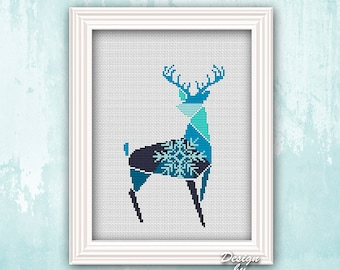 Christmas Deer Cross Stitch Pattern Geometric Deer Pattern Christmas Gift DIY Forest Animals Modern Cross Stitch Easy Embroidery Pattern PDF