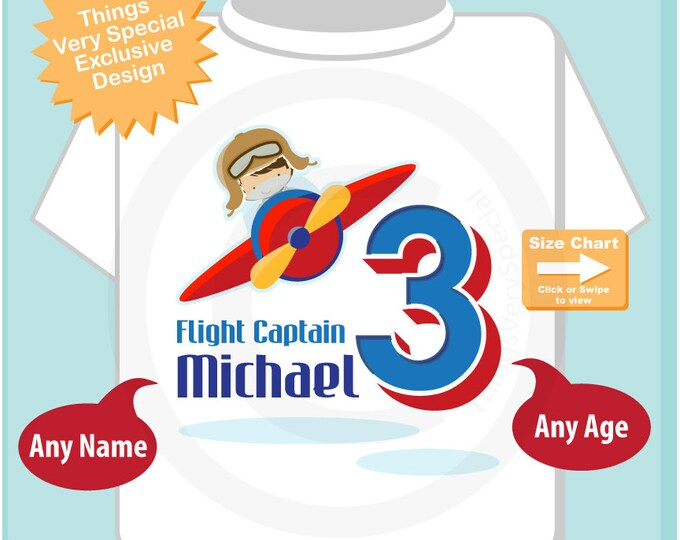 3 year old Plane Pilot, Boy's Personalized Airplane Pilot Birthday Shirt or Onesie Personalized with childs name and age (07062015g)