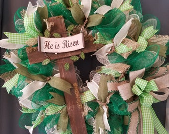 "Spring Easter Wreath,  Cross Wreath, ""He is Risen"" Cross, Gift for Mother's Day, Gift for her,Everyday Wreath, Front Door Wreath."