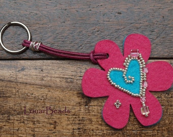 Pink and Blue Felt Keychain