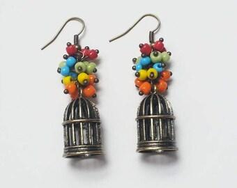 Multicolor birdcage earrings AR160