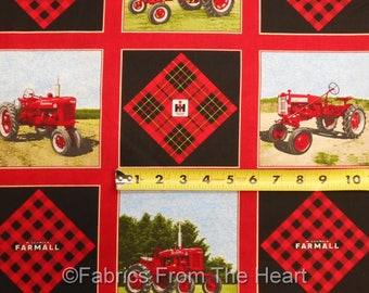 "Farmall Tractors International Harvester Cheater  5"" Block 42 per YARDS Cotton Fabric"