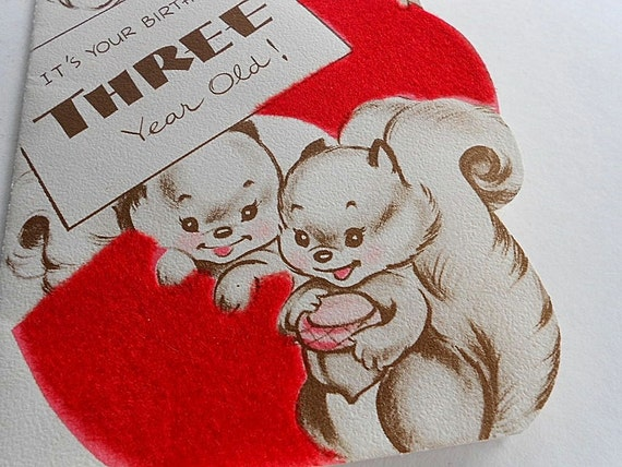 Vintage happy birthday card baby boy girl 3 year old squirrel bookmarktalkfo Choice Image
