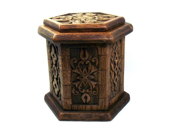Antique Arts and Crafts Style Oak Box in a Hexagonal Shape
