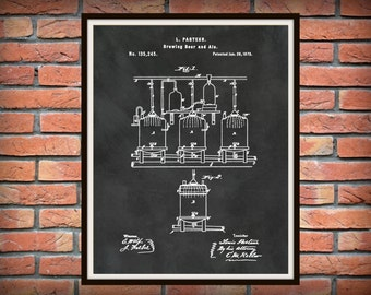Patent 1873 Brewing System for Beer or Ale - Art Print Poster - Wall Art - Bar Room Art - Man Cave - Tavern Art