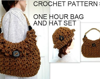 One Hour crochet bag and hat, CROCHET PATTERN - patterns for women, #895