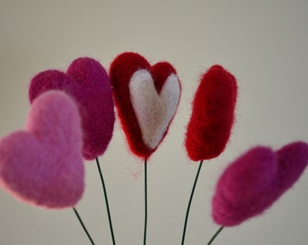 Heart Shaped Flower Stems Needle Felted Red Pink White Magenta