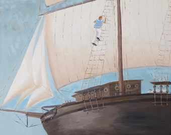 "Oil painting ""The Sailor"" format 80 x 60 cm, sailing ship, oilpainting sailor with Sailingship"