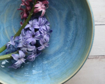 Shallow Ceramic Serving Bowl in Sea Glass Blue Glaze Handcrafted and Ready to Ship Made in USA Pottery Stoneware