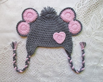READY TO SHIP - 1 to 3 Year Size - Crochet Elephant Hat with Heart - Jungle Animals - Winter Hat or Photo Prop