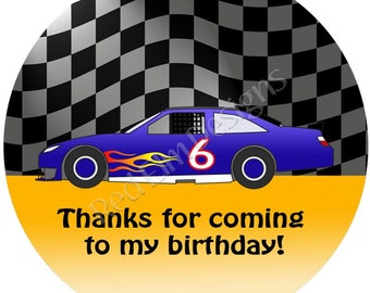 "Stock Car Racing Stickers - Sheet of 20 - 2"" round.  Car Birthday Party Favors.  2 Inch Round Race Car Stickers"