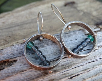 Rustic, reticulated, sterling silver earrings, pinned, beaded, earthy, boho, one of a kind metalsmith earrings