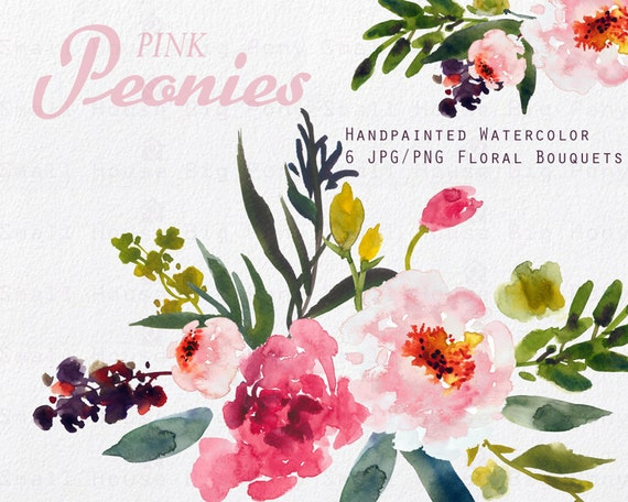 Watercolour Floral Clipart. Handmade, watercolour clipart, wedding diy elements, flowers - Pink Peonies