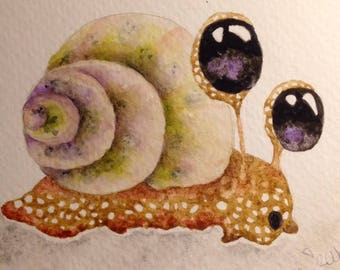 Watercolor Greeting Card, hand painted, OOAK,  original art, Garden Friends