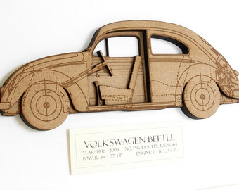 Volkswagen Beetle Blueprint, VW Beetle, Volkswagen Bug, Wood Cut Wall Art, Beetle, VW Bug Blueprint, Volkswagen Beetle Gifts, VW, 8x10 or A4