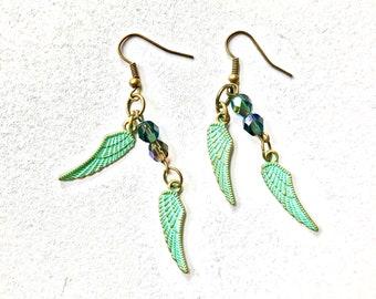 earrings jewelry turquoise handmade boho dangle earrings statement earrings drop earrings beaded earrings wing earrings brass brass earrings