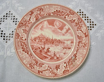 Vintage Johnson Brothers Historic America View of Boston Dinner Plate Pink Red Transferware Replacement England PanchosPorch