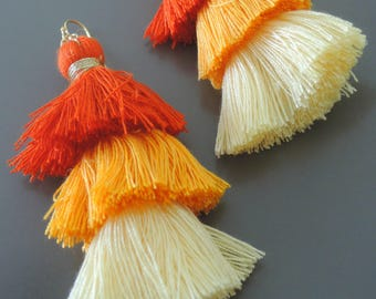 Tassel Earrings - Ombre Tassel Earrings - Statement Earrings - Orange Earrings - Yellow Earrings - Long Earrings - Gold Earrings - handmade