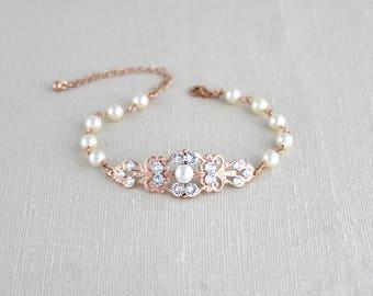 Rose Gold bracelet, Bridal bracelet, Bridal jewelry, Pearl bracelet, Wedding bracelet, Crystal bracelet, Rhinestone bracelet, Vintage style