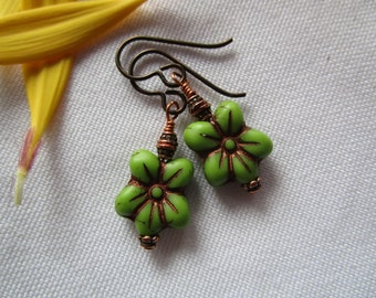 New Glass Flower Earrings, Beads Direct from the Czech Republic; Springy Green & Copper Glass Earrings with Hypoallergenic Niobium Ear Wires