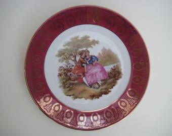 Vintage Limoges Fragonard plate burgundy red/ white/gold colour, France