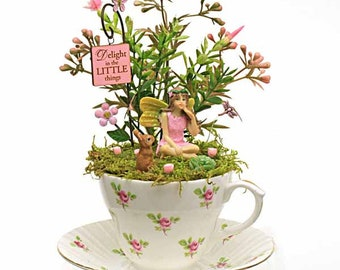 Pink Rose Vintage Teacup Fairy Garden, Vintage China Teacup,  Tiny Fairy Garden, Unique and Individual Gift, Handmade by Jennifer