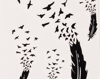 Feathers into Birds Tattoo Sheet - 1 Pc