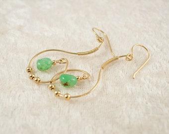 Green Chrysoprase 14k Gold Filled Dangle Earrings - Natural Gemstone Earring - Wire Wrap Jewelry