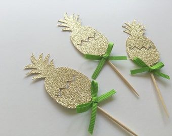 10 Gold Glitter Pineapple Cupcake Toppers with Colorful Bow. Destination Wedding. Engagement Party.Hawaiian Luau Decoration. Tropical Party