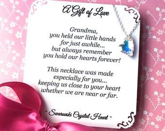 GIFT for GRANDMA POEM Included Swarovski Crystal Heart Grandma Gift Sterling Silver Grandmother Necklace Grandma Jewelry First Time Grandma