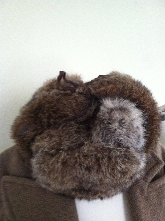 L L Bean Fur Hat Rabbit Fur Trapper Hat Earflaps Wool Vintage