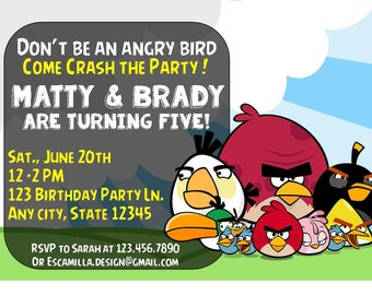 Angry Birds Birthday Party Invitation for Boys,Twins and/or Siblings