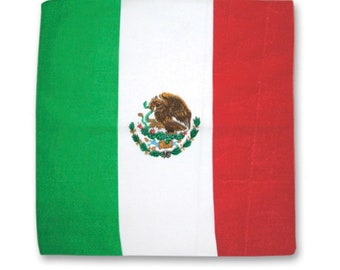 Mexican Flag Bandana Paliacate World Cup 100% Cotton Head Wrap Scarf Red White Green